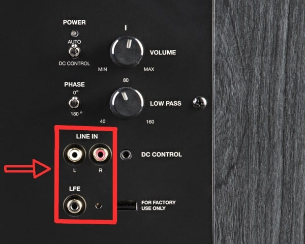 CONNECTING USING AN LFE SUBWOOFER OUTPUT